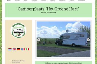 screenshot van de website van een camperplaats het groene hart uit abbenes